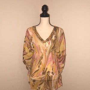 Beautifully Patterned Blouse.New York& Co. Size XS